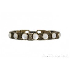 Smooth Antique Gold Crystal Frosted Pearl