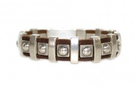Eta Bead Molten Brown Leather Cuff